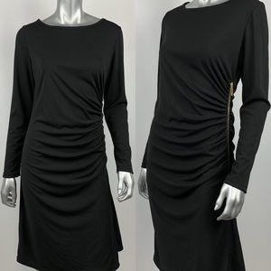 Marc Bouwer Sheath Dress S Black Ruched Stretchy